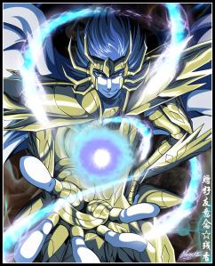 Manigold usando as lendárias Chamas Demoníacas Azuis