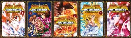 Capa dos 5 primeiros volumes de Next Dimension lançados em português.